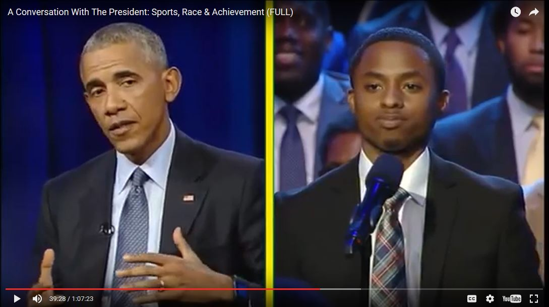 split-screen of President Obama and Devin Edwards